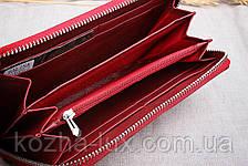 Кошелёк женский кожаный темно красный на молнии, натуральная кожа, фото 3