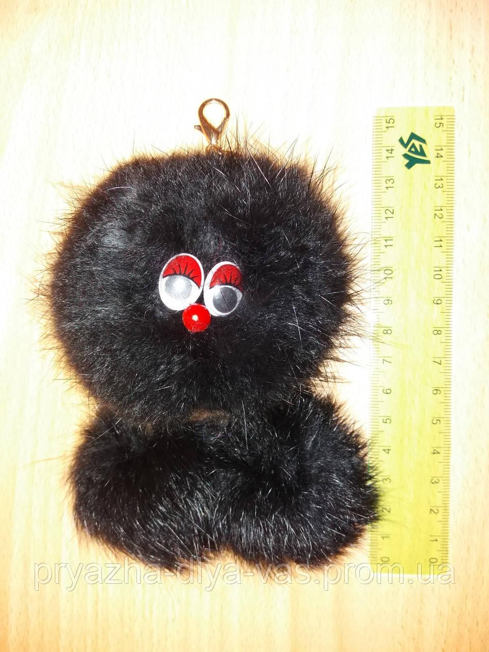 """Брелок """"Домовик"""" из меха кролика(чёрный)"""