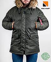 Зимняя мужская парка Olymp 2018 — Аляска N-3B, Slim Fit, Хаки — 100% Нейлон