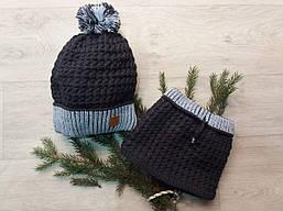 Детская зимняя  шапка и снуд(хомут) на флисе для мальчика