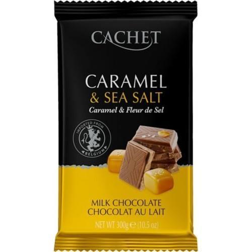 Молочный шоколад cachet с карамелью и морской солью Caramel & Sea Salt, 300г, Бельгия