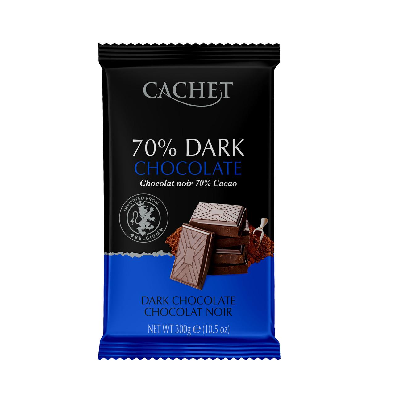 Шоколад бельгийский черный Cachet Dark Chocolate 70% какао, 300г