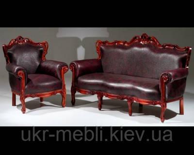 Мягкая мебель из дерева Элит, диван в коже, Украина