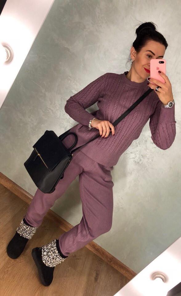 Фиолетовый зимний вязаный костюм