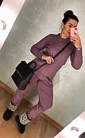 Фиолетовый зимний вязаный костюм, фото 1
