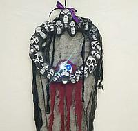 """Подвесная декорация скелеты """"Черепки"""" с вуалью, размер 90х38 см, Хэллоуин"""