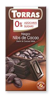 Черный  шоколад Torras c зернами какао  без сахара  , 75 гр