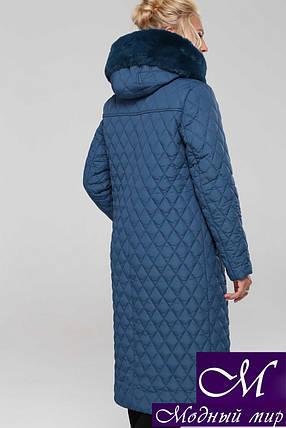 Женское стеганное пальто больших размеров (р. 48-60) арт. Дорис т.мор.волна, фото 2