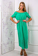 Платье-сарафан из цветного шитья АЛЕСЯ зеленое, фото 1