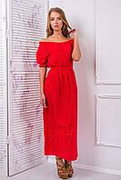 Платье-сарафан из цветного шитья АЛЕСЯ красное, фото 1
