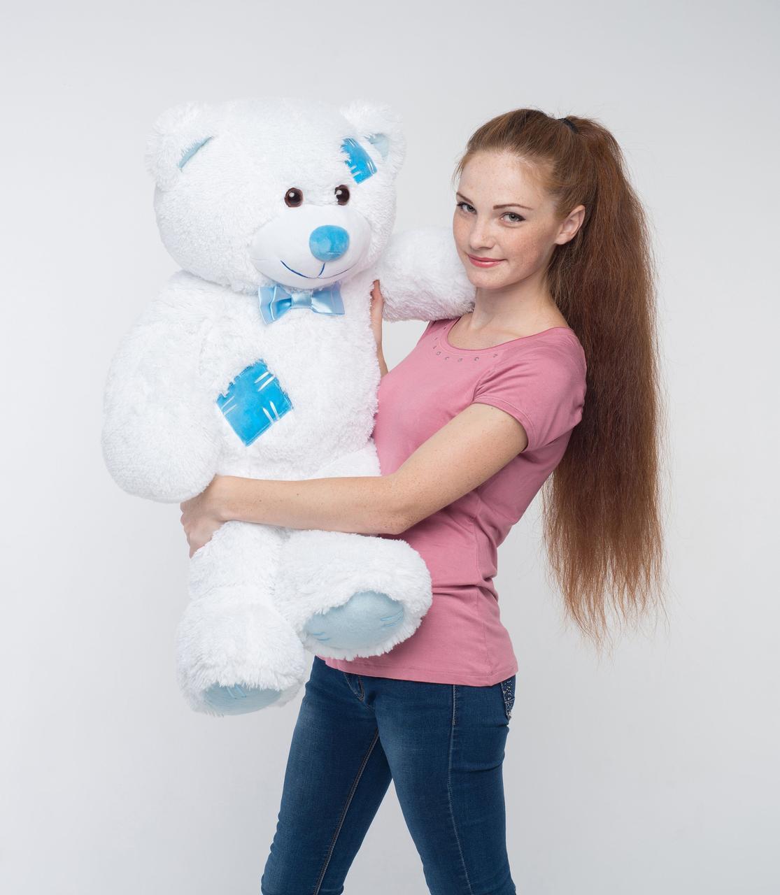 Плюшевый мишка Mister Medved с латками Белый 100 см (Мягкая плюшевая игрушка)