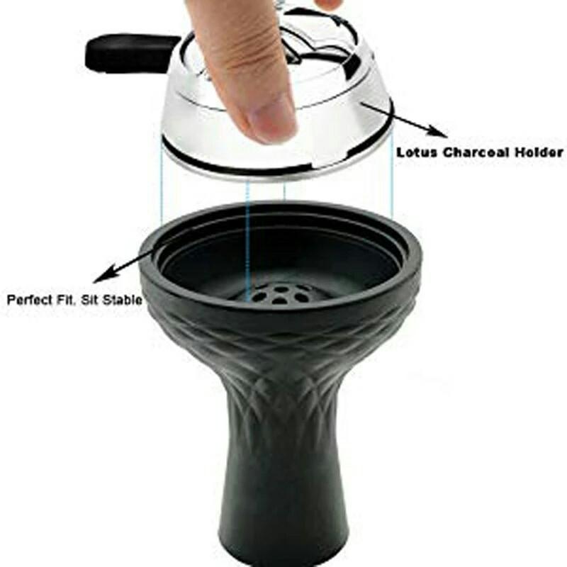 Акция Силиконовая чаша для Кальяна   7 отверстий цвет черный + Калауд Kaloud Lotus в упаковке  рифленый