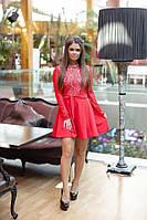 Платье с поясом / креп - дайвинг, гипюр / Украина 10-1281, фото 1