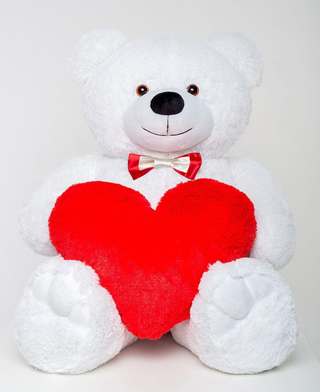 Плюшевый мишка с сердцем Mister Medved Белый 130 см (Мягкая плюшевая игрушка)