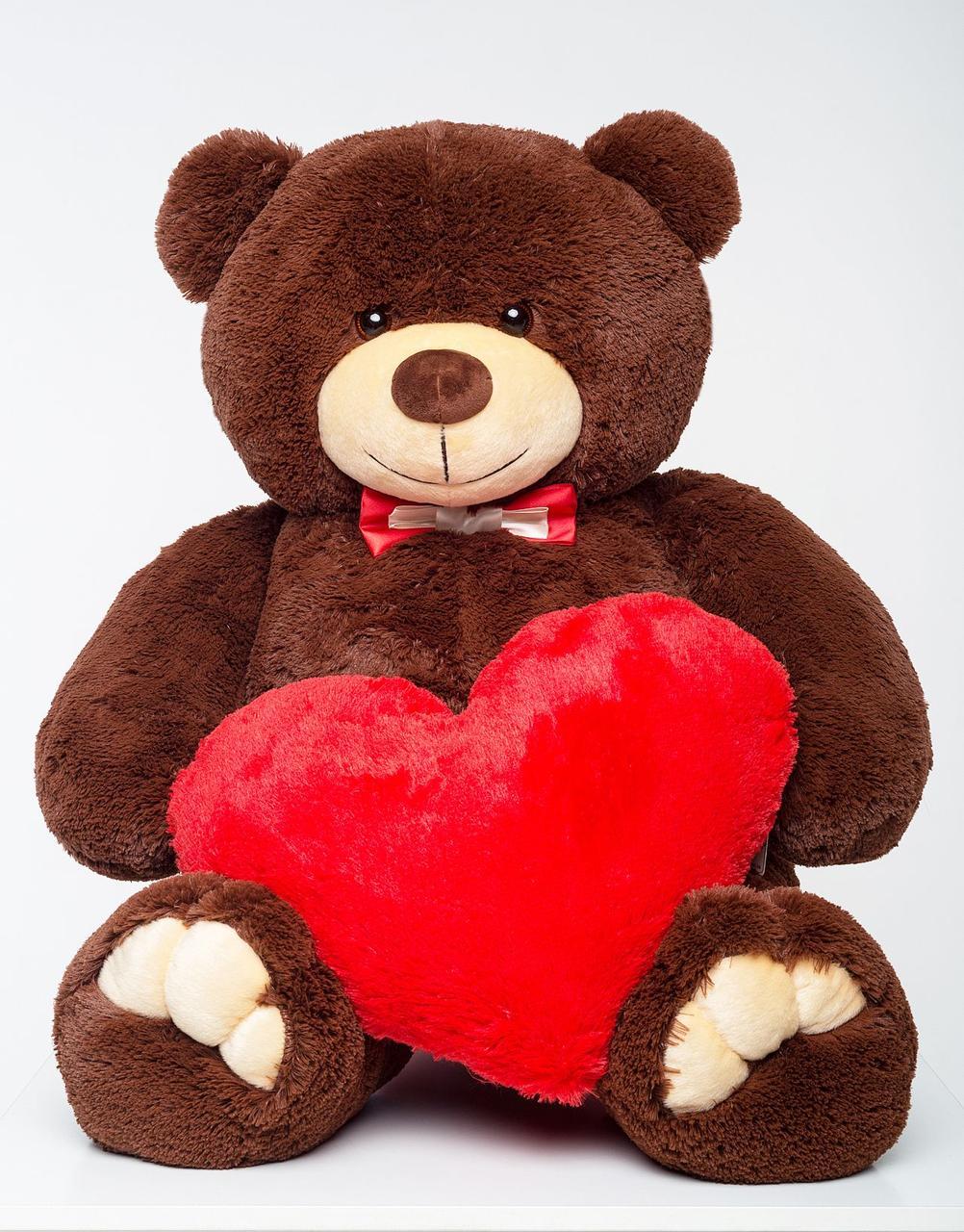 Плюшевий ведмедик із серцем Mister Medved Бурий 130 см (М'яка плюшева іграшка)