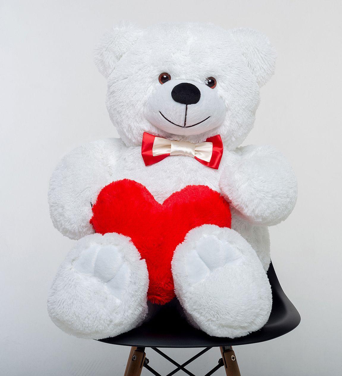 Плюшевый мишка с сердцем Mister Medved Белый 110 см (Мягкая плюшевая игрушка)