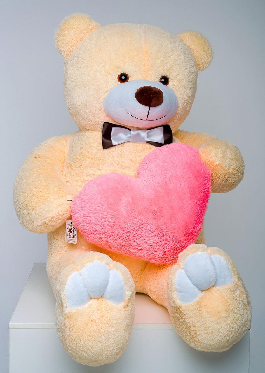 Плюшевий ведмедик із серцем Mister Medved Бежевий 2 метри (М'яка плюшева іграшка)