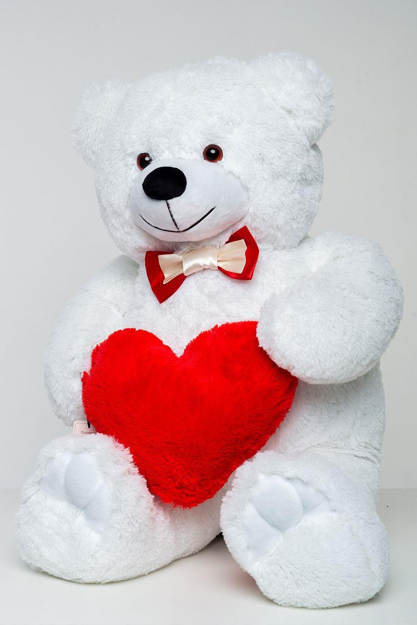 Плюшевый мишка с сердцем Mister Medved Белый 85 см (Мягкая плюшевая игрушка)