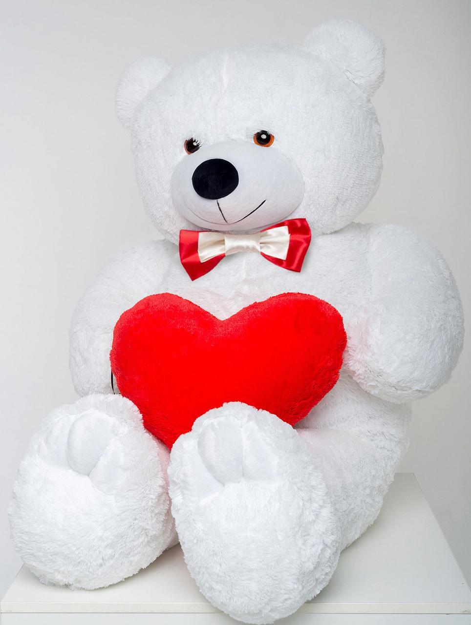Плюшевый мишка с сердцем Mister Medved Белый 160 см (Мягкая плюшевая игрушка)