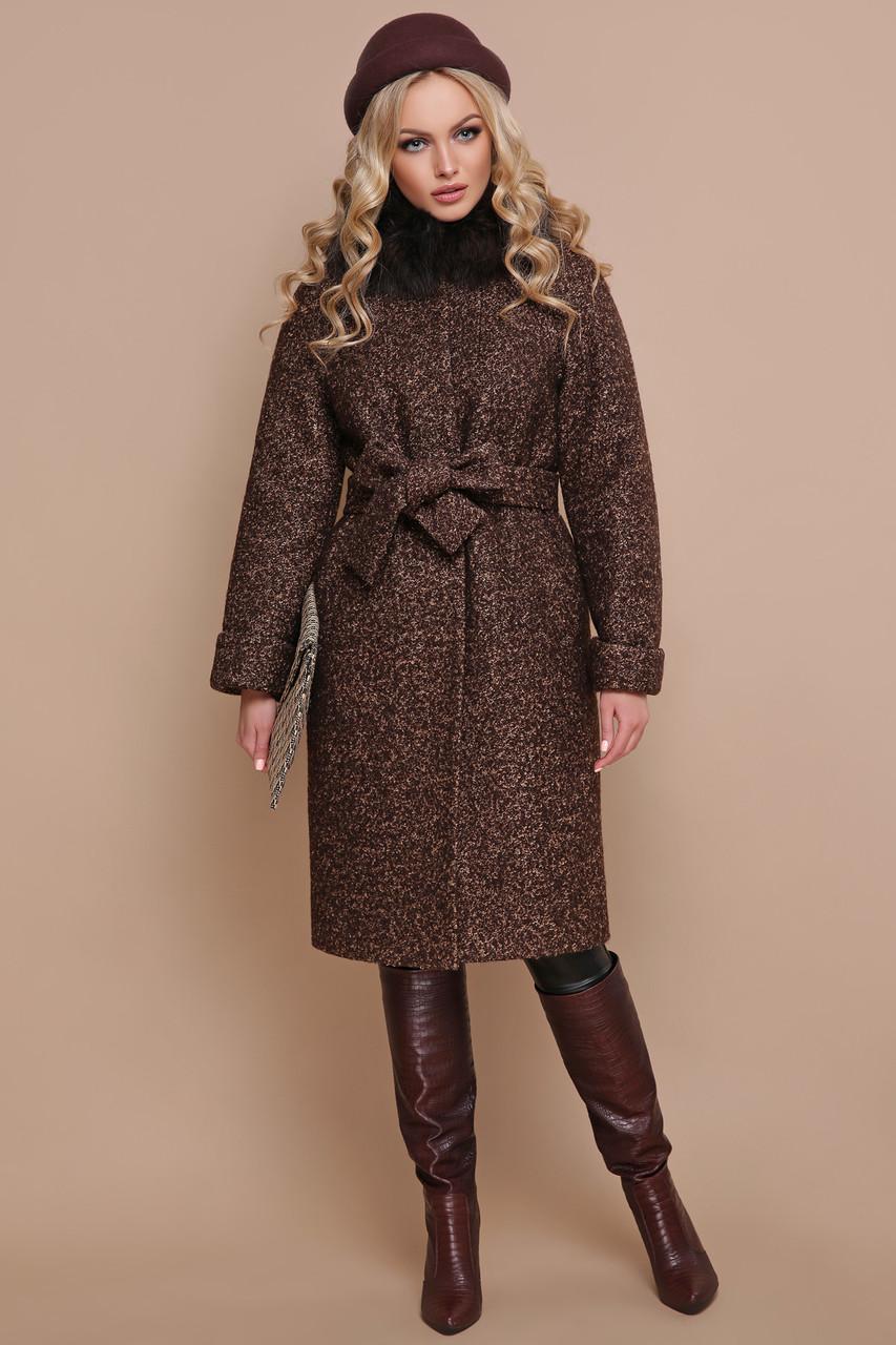 Женское зимнее пальто с меховым воротником коричневое