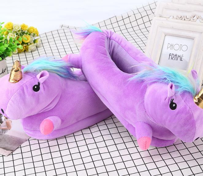 Женские тапочки игрушки Единороги фиолетовые