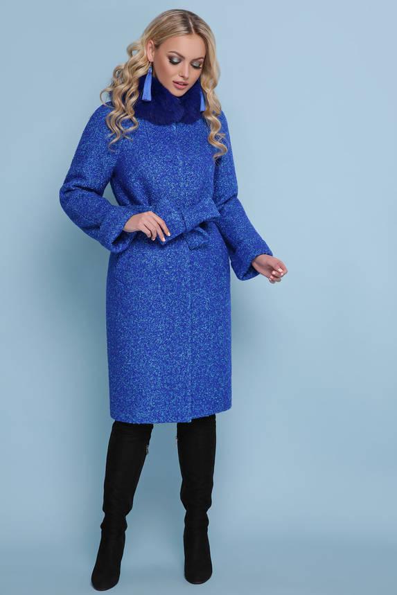 Женское зимнее пальто с меховым воротником синее, фото 2