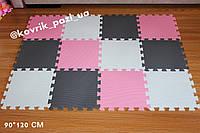Коврик-пазл для девочки (серый, белый, розовый) 90*120 см