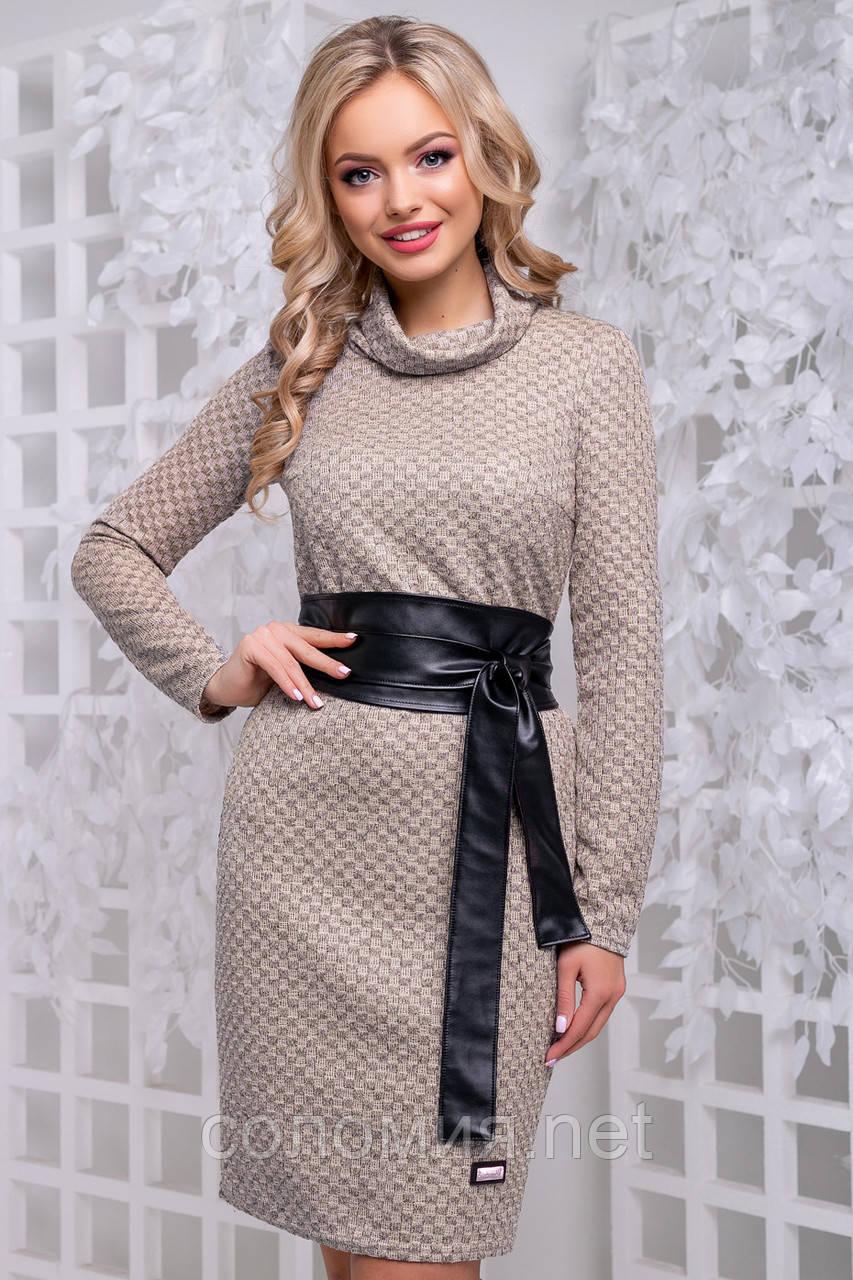 Изящное платье из фактурного трикотажа с кожаным поясом 44- 50р