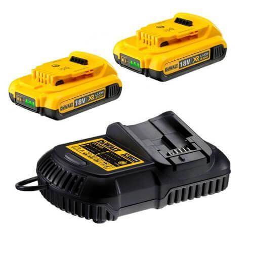 Зарядное устройство DeWALT, XR Li-Ion,10,8В,14,4 В,18,0 В,ток 4 A, вес 0,5 кг,2 аккумулятора, шт
