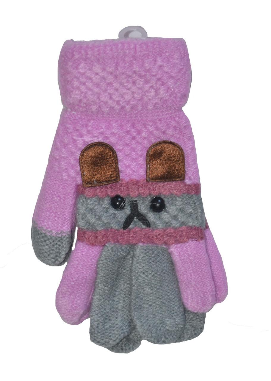 Перчатки для девочки одинарные с начесом