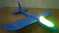 Самолет метательный планер,глайдер  светодиодный 48 см пенопласт светящаяся кабина, фото 1