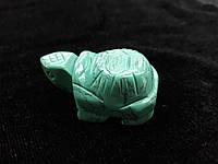 Фигурка черепаха резьба по камню камень говлит (под бирюзу)