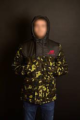 Мужская зимняя парка New Balance черного цвета и камуфляж (люкс копия)