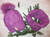 Детский комплект шапка и снуд на девочку,на флисе, фото 1