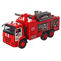 Коллекционная металлическая инерционная модель (детская машинка) - Пожарная машина, 9624B