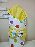 Теплый конверт-одеяло на выписку зима 80х90см  бело/желтый горошек