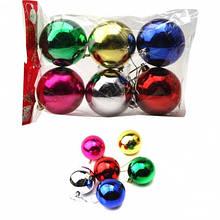 Шары новогодние пластиковые диаметр 3см блестящий в пакете 6 штук 6 цветов.