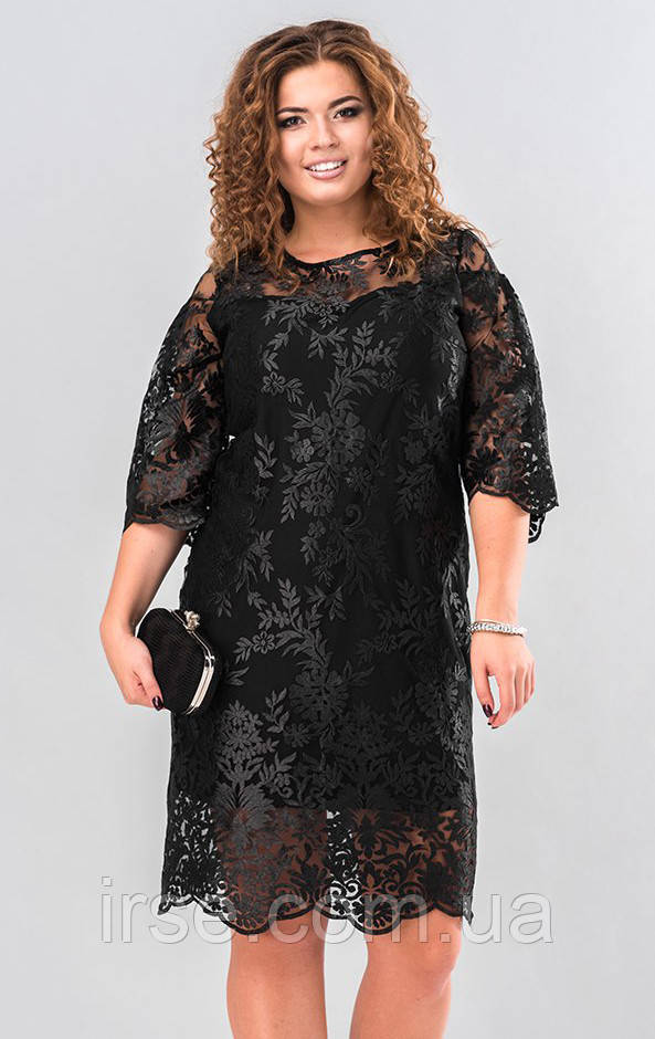1bb44d3035a Купить Вечернее платье из гипюра черного цвета. Модель 19648 ...