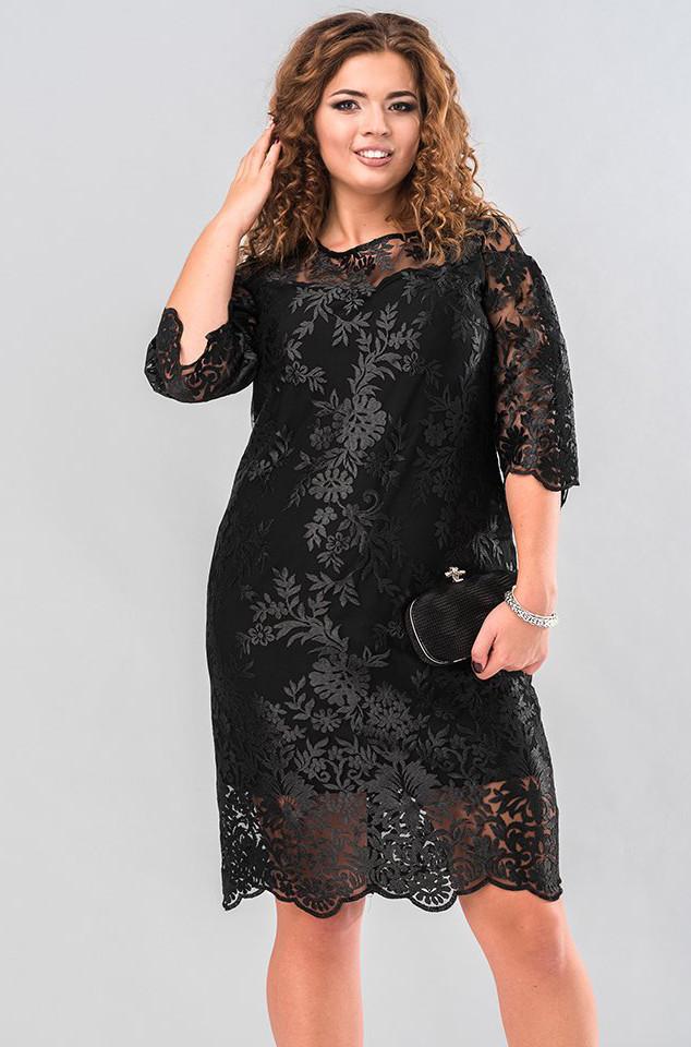 aeeba0405bb Вечернее платье из гипюра черного цвета. Модель 19648. Размеры 50-56