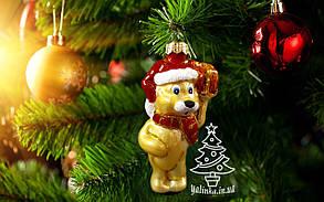 Скляна ялинкова іграшка Песик з подарунком Ю-та 1015, фото 2