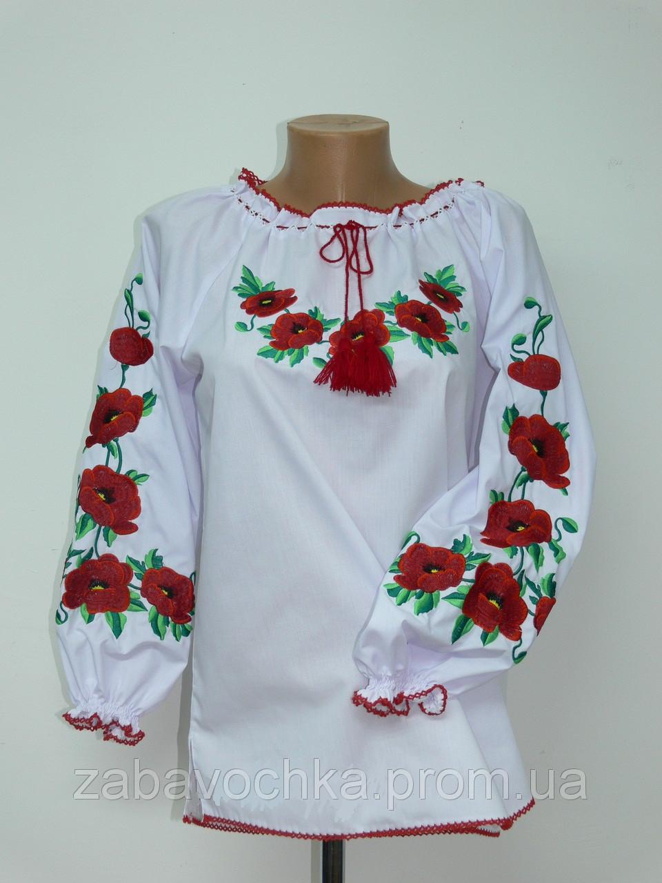 """Вышиванка женская """"Маки"""", 56-62 размер, 390/350 (цена за 1 шт. + 40 гр.)"""