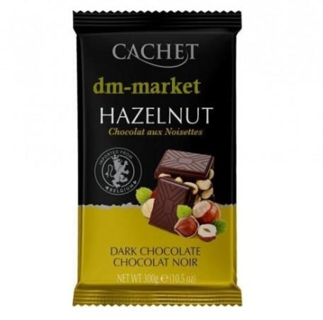 Бельгийский черный шоколад Cachet Hazelnut, 300г  с цельным орехом фундук
