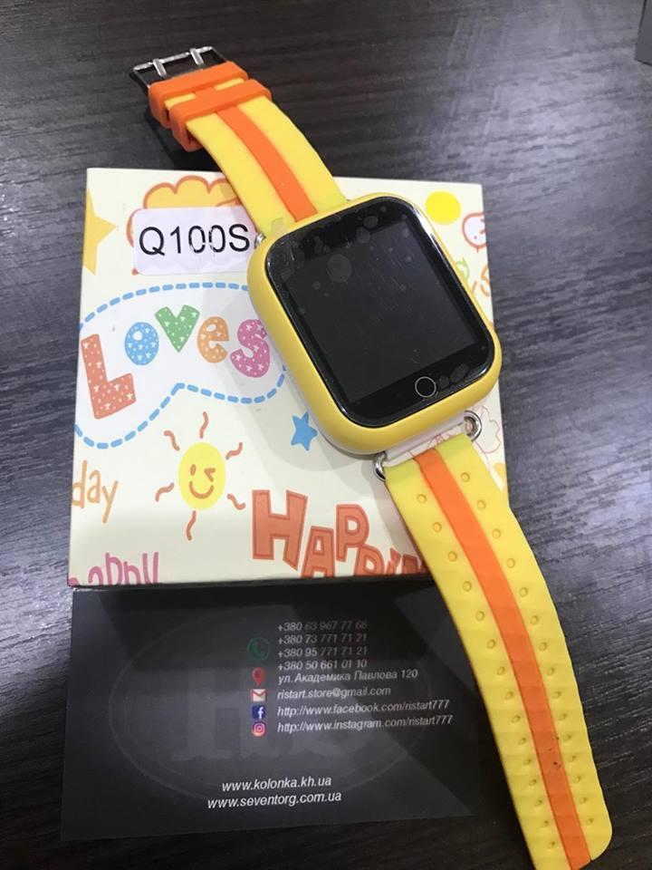 Детские умные часы Smart Watch GPS трекер Q100S Желтый