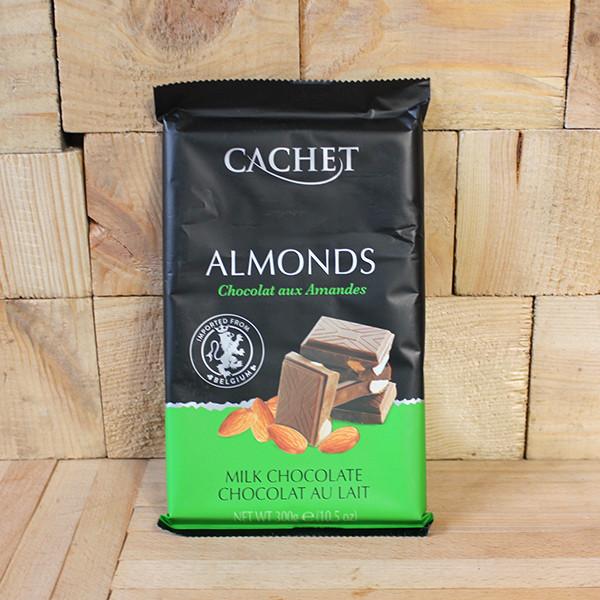 Шоколад молочный Кашет с миндалем Cachet Almonds, 300г, Бельгия