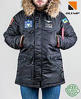 Куртка парка зимняя - Olymp с нашивками N-3B черный, фото 1