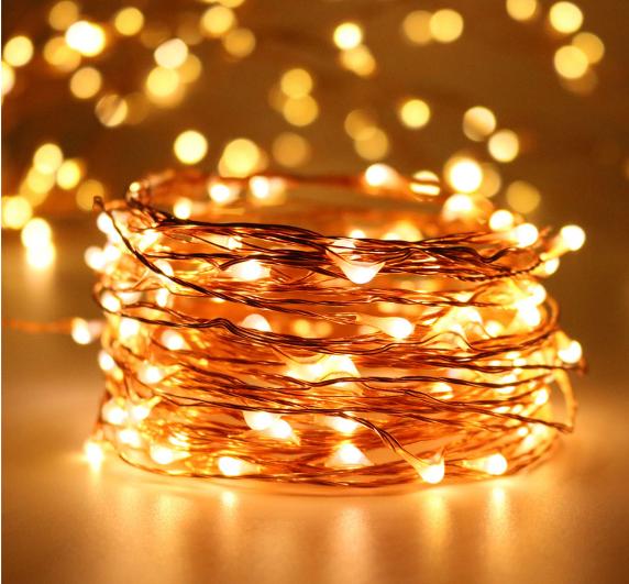 Светодиодная гирлянда нить 8 метров 100led на батарейках золотая теплая Gold Warm