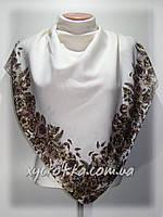 Кашемировые платки Флора, молочный