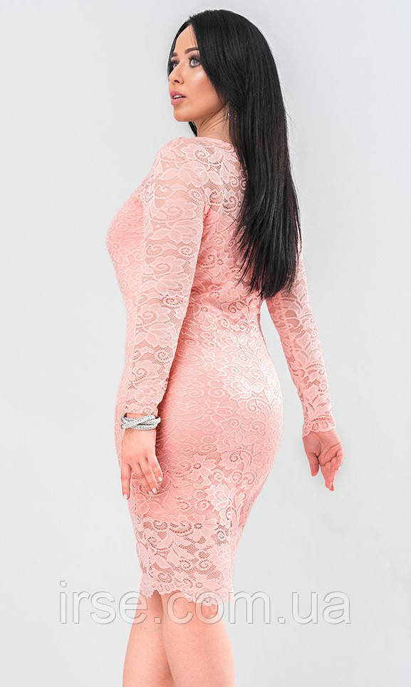 43cc05f0009 Вечернее платье из гипюра розового цвета. Модель 19662. Размеры 48 ...