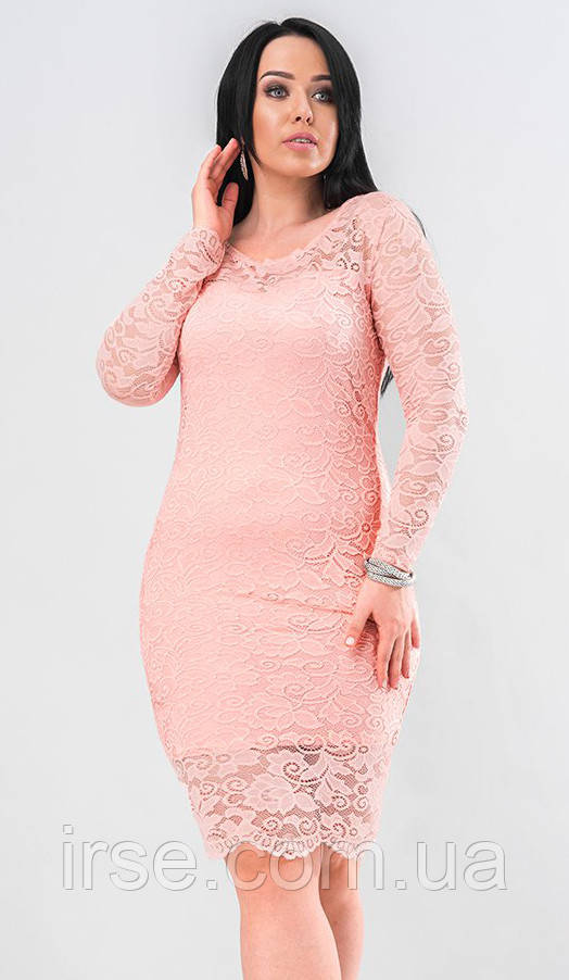 aac0c962bff Вечернее платье из гипюра розового цвета. Модель 19662. Размеры 48-56