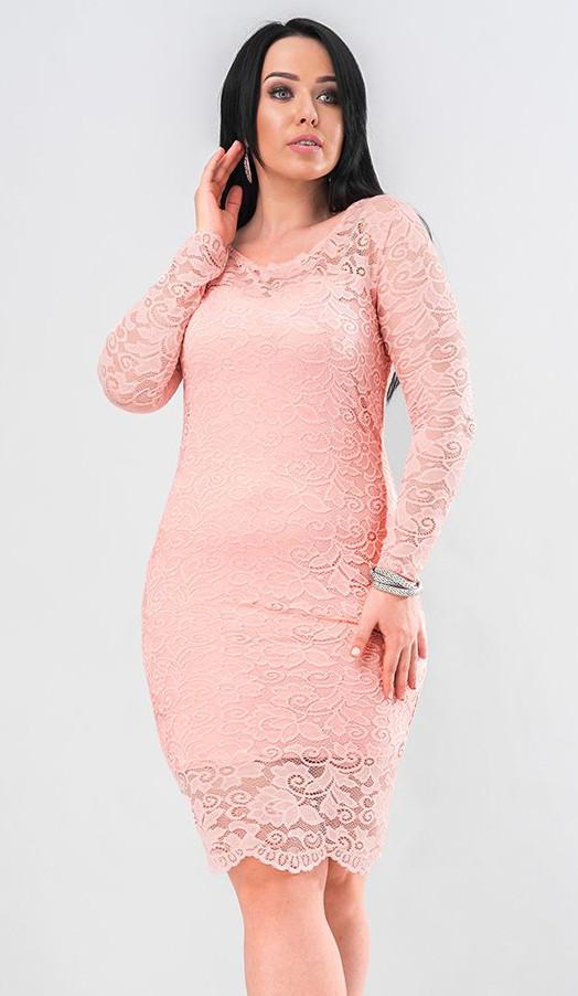 df2f5656a10 Вечернее платье из гипюра розового цвета. Модель 19662. Размеры 48-56 - Irse